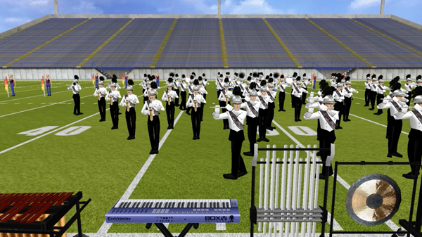 Picture of EnVision 3D Drill Design software developed for marching bands, winter guards and indoor drumlines